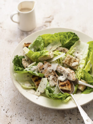 chicken ceasar salad on plate