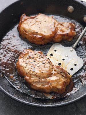sticky pork steaks coleslaw