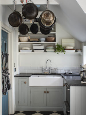 kitchen sink and pans