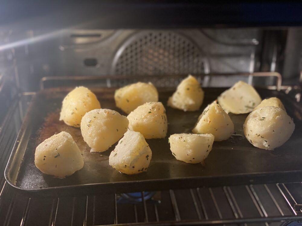 potatoes roasting in the oven
