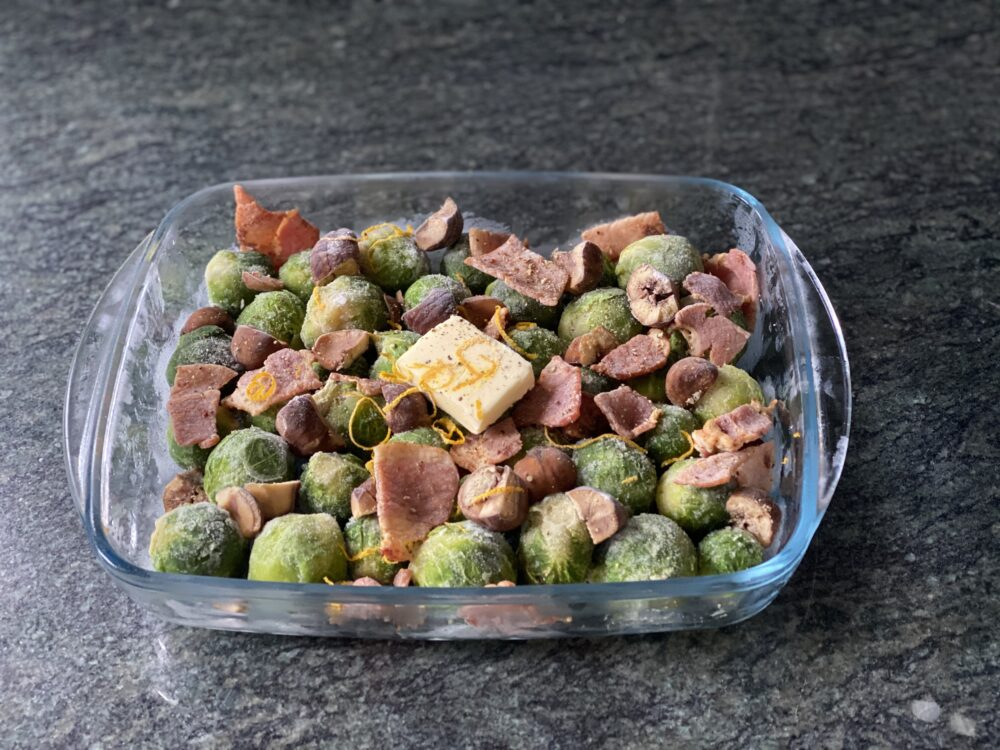 frozen Brussels sprouts, lightly fried bacon, chunks of cooked chestnut