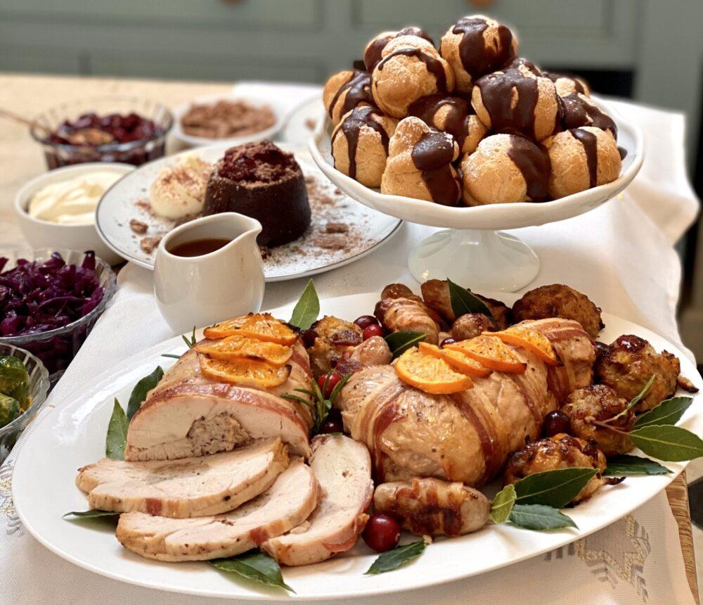 Roast turkey and chocolate profiteroles