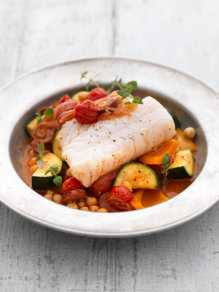 Easy fish with chorizo