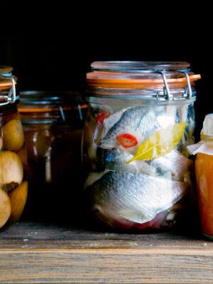 Jars of pickled food