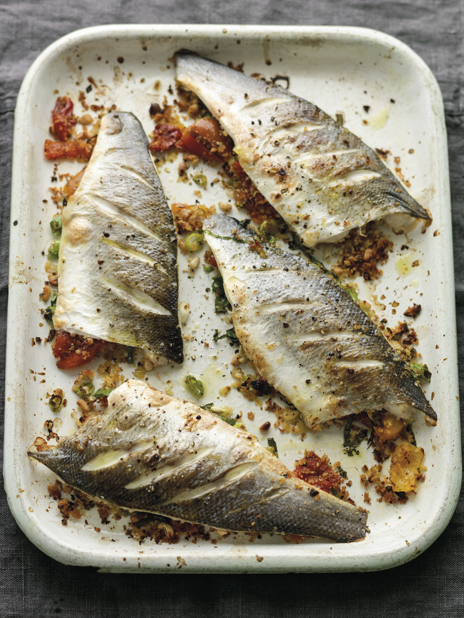 Baked sea bass with peppers and pine nuts justine for Turkish sea bass recipe